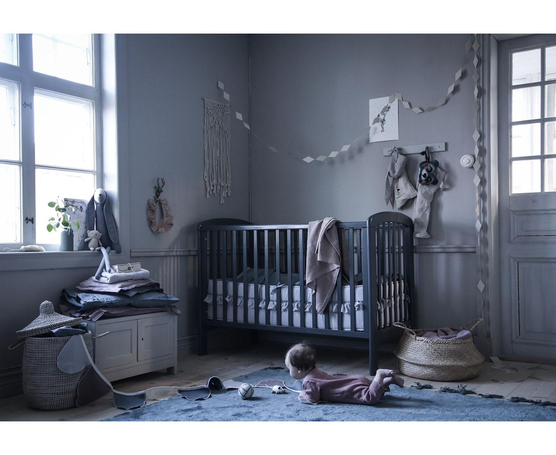 NG Baby Mood Volang Spjälskydd Linne Dusty Pink Vagga
